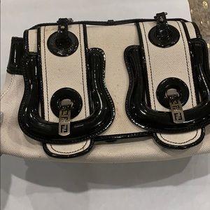 Fendi Beige/Black Canvas and Patent Leather B Bag